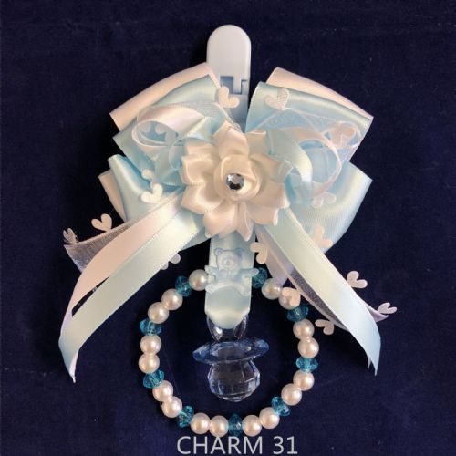 Stunning Hand Craft Pram Charm/Blue White Bow/Dummy